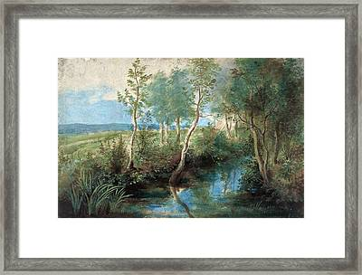 Landscape With Stream Overhung With Trees Framed Print