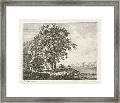 Landscape With Tall Trees Along A River, Franciscus Andreas Framed Print