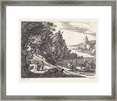 Landscape With The Expulsion Of Hagar And Ishmael Framed Print by Willem Van Nieulandt (ii)