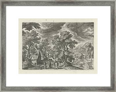 Landscape With The Good Samaritan And The Injured Passenger Framed Print by Julius Goltzius And Hans Bol And J. Janssonius