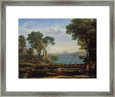 Landscape With The Marriage Of Isaac And Rebekah The Mill 1648 Oil On Canvas Framed Print by Claude Lorrain