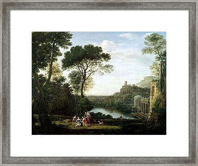 Landscape With The Nymph Egeria Oil On Panel Framed Print by Claude Lorrain