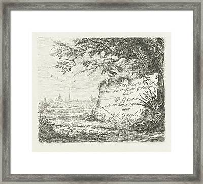 Landscape With The Prospect Of A Village Framed Print by Jacobus Cornelis Gaal