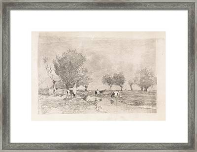 Landscape With Three Cows In A Ditch, Elias Stark Framed Print by Quint Lox
