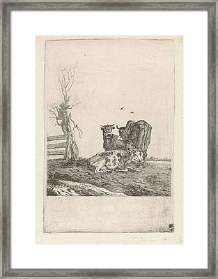 Landscape With Three Cows, Pieter Janson Framed Print by Artokoloro