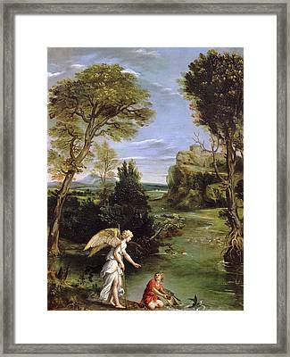 Landscape With Tobias Laying Hold Of The Fish, C.1615 Oil On Copper Framed Print by Domenichino