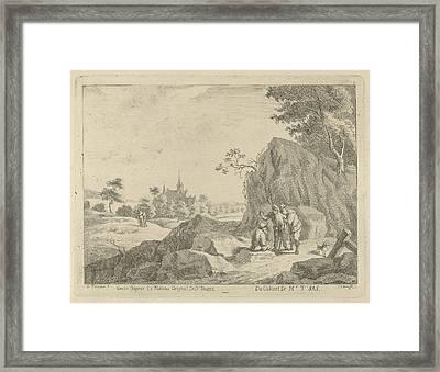 Landscape With Travelers And Shepherds, Jan Lauwryn Krafft Framed Print by Artokoloro