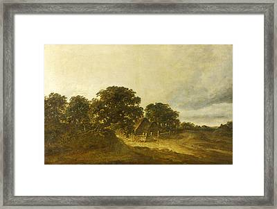 Landscape With Trees Buildings And A Road Framed Print