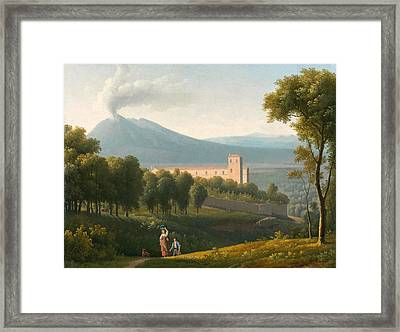 Landscape With Vesuvius In The Distance Framed Print