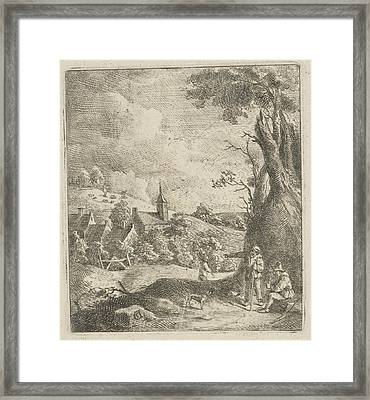 Landscape With Village And Two Men In A Tree Framed Print by Artokoloro