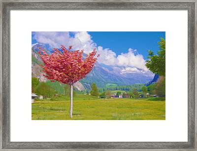 Landscape With Village Framed Print by Lanjee Chee