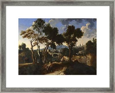 Landscape With Villagers, C.1640 Framed Print