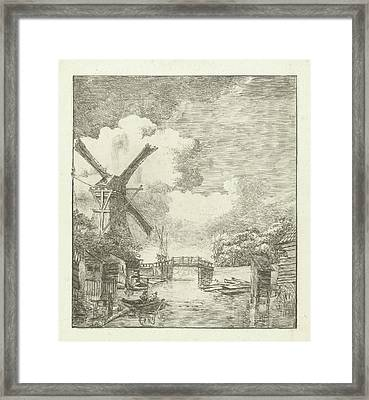Landscape With Water Mill, Albertus Brondgeest Framed Print