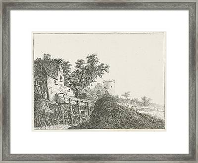Landscape With Water Mill And Tower, Baron Reinierus Framed Print