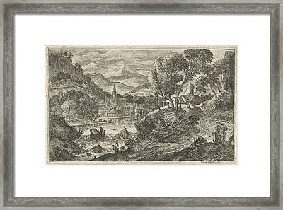 Landscape With Waterfall And Village, Adriaen Van Der Kabel Framed Print