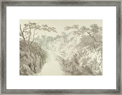 Landscape With Waterfall Framed Print by Joseph Mallord William Turner
