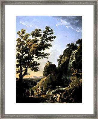 Framed Print featuring the digital art Landscape With Waterfall by Joseph Vernet