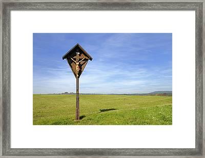 Landscape With Wayside Crucifix Framed Print
