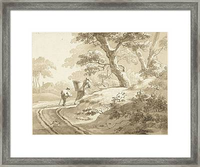 Landscape With Wife And Little Boy On A Country Road Framed Print