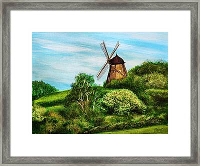 Landscape With Windmill Framed Print by Gynt Art