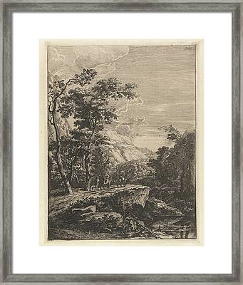 Landscape With Woman Riding A Mule Along The Aqua Negro Framed Print by Jan Both