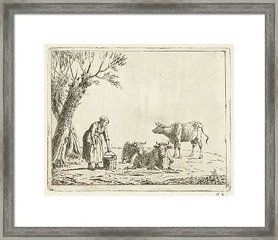 Landscape With Woman With Milk Bucket With Three Cows Framed Print by Artokoloro