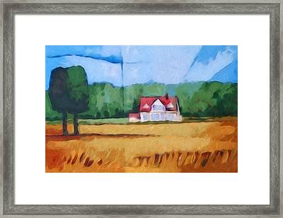 Landscape With Yellow Field Framed Print