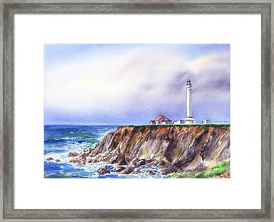 Lighthouse Point Arena California  Framed Print