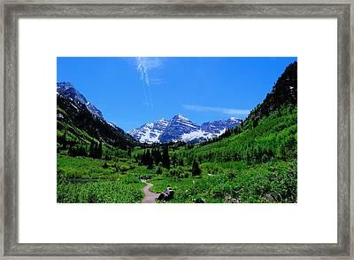 Hiking Maroon Bells Framed Print by Dan Sproul