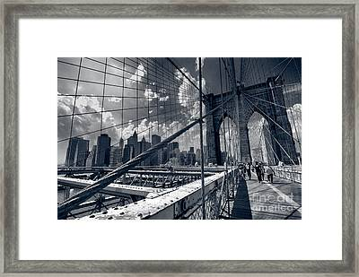 Lanes For Pedestrian And Bicycle Traffic On The Brooklyn Bridge Framed Print by Amy Cicconi
