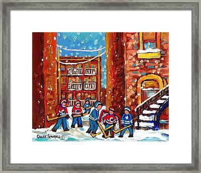 Laneway Hockey Game Montreal Paintings Winter Fun In The City Carole Spandau Framed Print