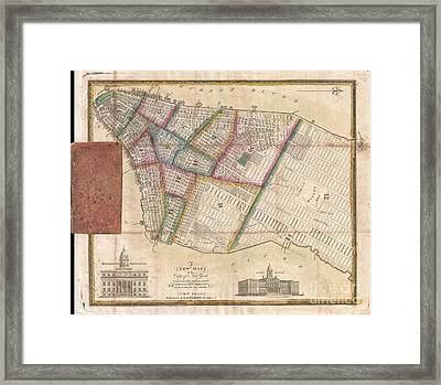 Langdon Pocket Map Of New York City Framed Print by Paul Fearn