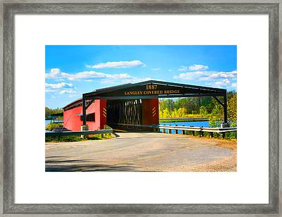Langley Covered Bridge - Michigan Framed Print by Pat Cook