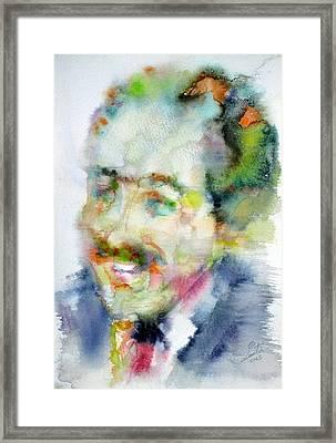 Langston Hughes - Watercolor Portrait Framed Print by Fabrizio Cassetta
