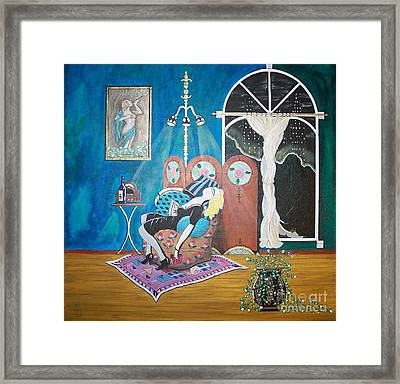 Languid Lady In A Chair Brooding Over Poetry Framed Print