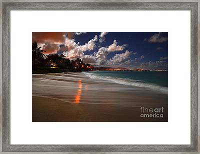 Lanikai Beach At Night View Of Kailua Bay  Framed Print