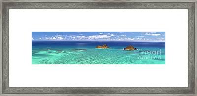Lanikai Beach From Above Panorama Framed Print