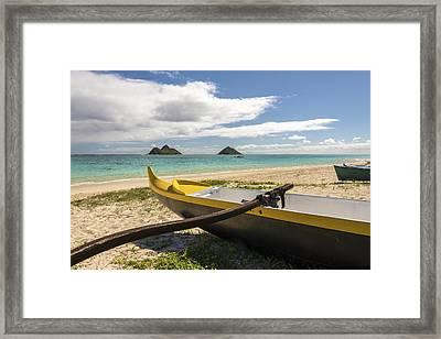 Lanikai Beach Outrigger 1 - Oahu Hawaii Framed Print by Brian Harig