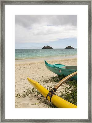 Lanikai Beach Outrigger 2 - Oahu Hawaii Framed Print by Brian Harig