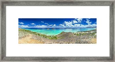 Lanikai Beach Panorama Framed Print by Aloha Art