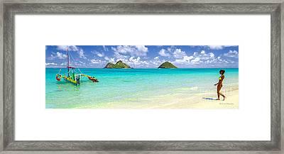 Lanikai Beach Paradise 3 To 1 Aspect Ratio Framed Print