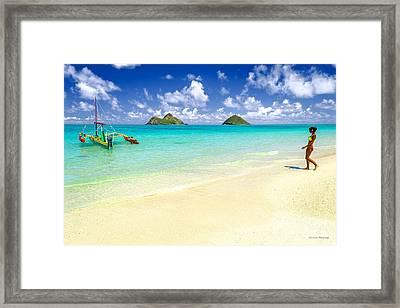 Lanikai Beach Paradise Framed Print by Aloha Art