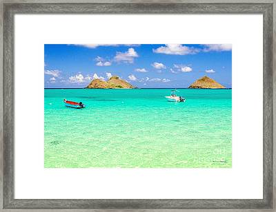 Framed Print featuring the photograph Lanikai Beach Two Boats And Two Mokes by Aloha Art