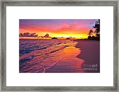 Lanikai Beach Winter Sunrise Rays Of Light Framed Print