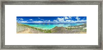 Lanikai Bellows And Waimanalo Beaches Panorama Framed Print
