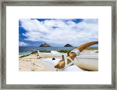 Framed Print featuring the photograph Lanikai Outrigger 1 by Leigh Anne Meeks