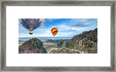Lanscape Of Mountain And Balloon Framed Print by Anek Suwannaphoom