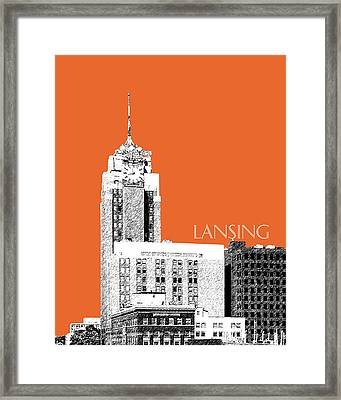 Lansing Michigan Skyline - Coral Framed Print by DB Artist
