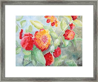 Framed Print featuring the painting Lantana II by Marilyn Zalatan
