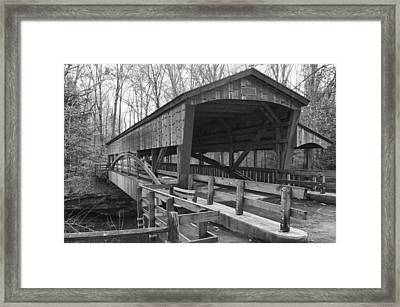 Lanterman Falls Covered Bridge Framed Print by Guy Whiteley